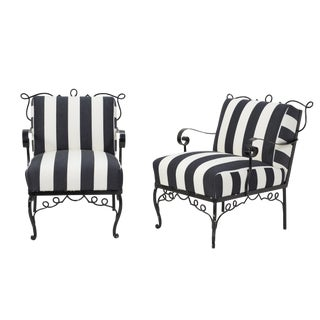 Mid 20th Century Black Wrought Iron Club Chairs- A Pair For Sale