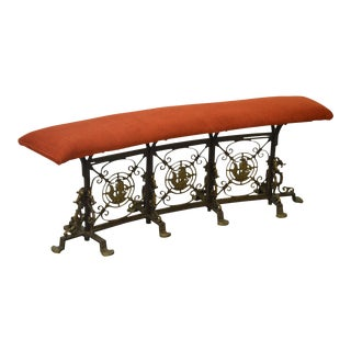 1920s Wrought Iron & Bronze Curved Nautical Theme Bench (possibly Oscar Bach)
