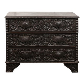 Italian 1860s Three-Drawer Commode with Hand-Carved Scrollwork and Dark Patina For Sale