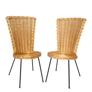 Vintage French Rattan Chairs on Metal Legs - a Pair