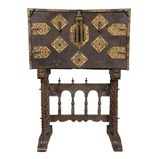 Spanish Baroque Walnut and Iron Vargueno For Sale