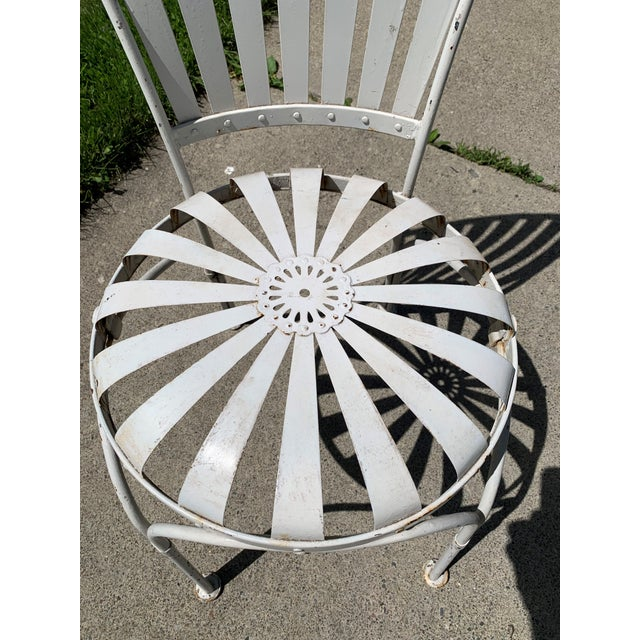 Metal Vintage Mid Century French Francois Carre Sunburst Garden Chairs- Set of 4 For Sale - Image 7 of 11