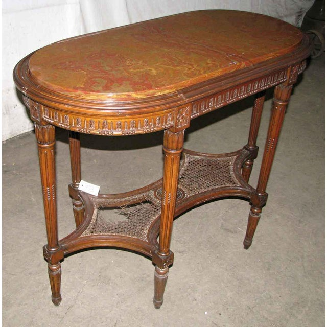 Antique Carved Marble Top Wood Table For Sale - Image 4 of 6