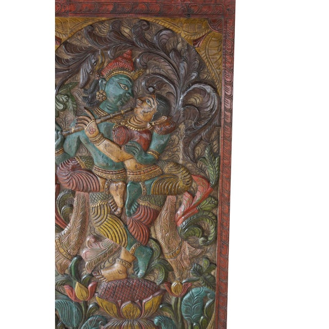 Indian carved wood wall panels of Krishna Radha spending time with each other under Kadambari tree . The pair of spritual...