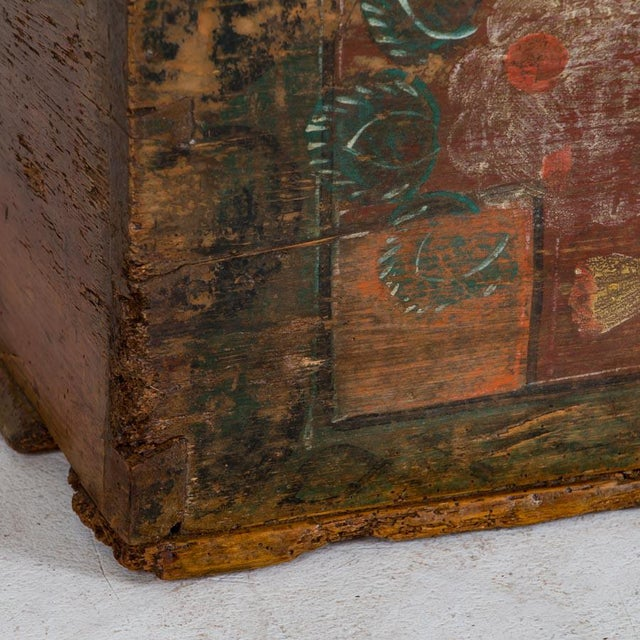Wood 19th Century Antique Painted Trunk For Sale - Image 7 of 10