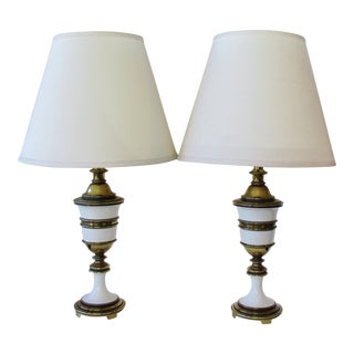 Stiffel Brass & Enamel Lamps, a Pair For Sale