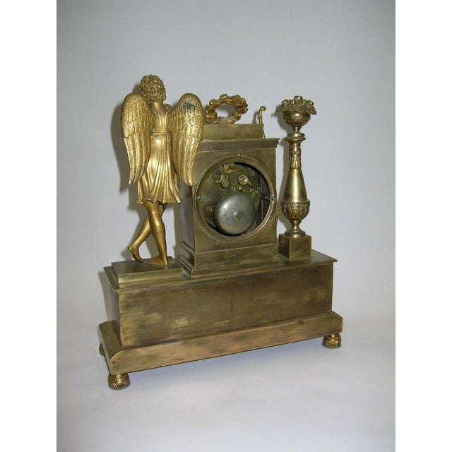 Metal 19th Century French Charles X Gilt Bronze Dore Figural Mantel Clock For Sale - Image 7 of 11