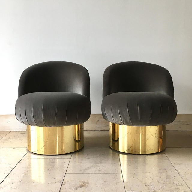 Pair of Brass Based Ash Grey Velvet Tub Upholstered Swivel Chairs 1960s completely rebuilt and refurbished by Talisman in...