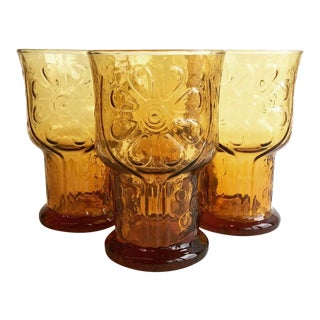 Vintage Country Garden Amber Water Goblet - Set of 4 For Sale