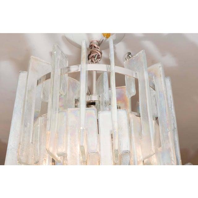 "Modern Iridescent ""C"" Link Glass Chandelier For Sale - Image 3 of 6"