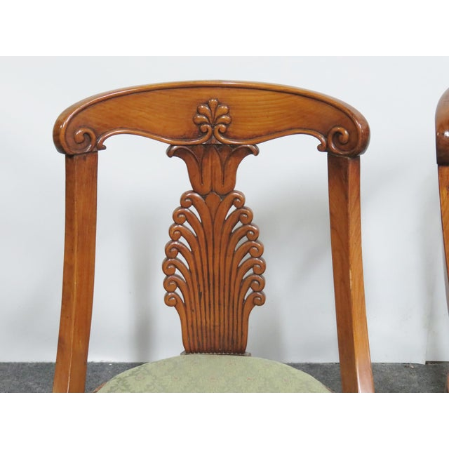 Set of 6 19 th century empire klismos style dining chairs, mahogany, caved back and legs.