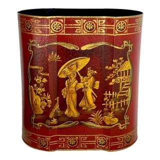 Red Tole Gilt Chinoiserie Wastepaper Can For Sale
