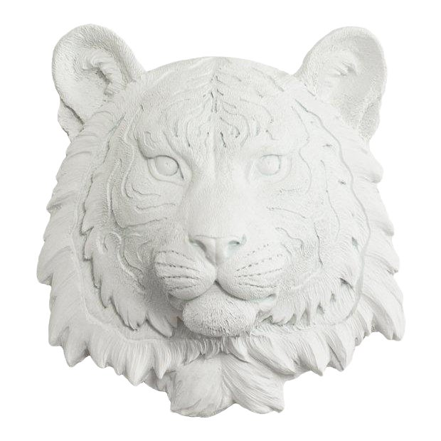 Wall Charmers White Faux Taxidermy Mini Tiger Head Wall Sculpture - Image 1 of 3