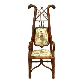 Bamboo Upholstered Arm Chair For Sale