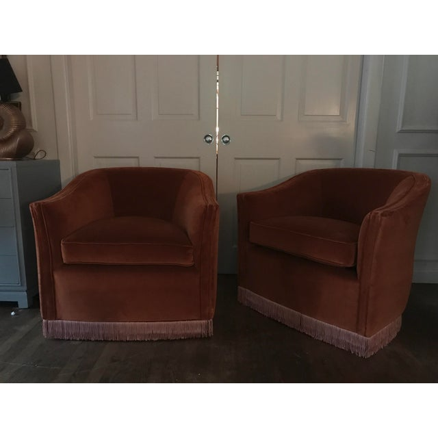 Textile 1970s Vintage Rust Color Velvet Swivels Chairs- A Pair For Sale - Image 7 of 13