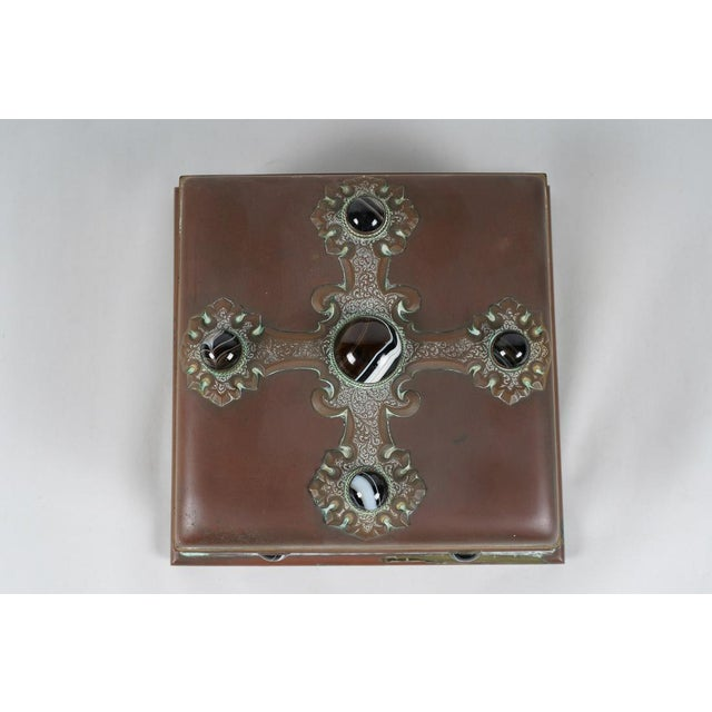 19th Century Rare Antique Banded Agate & Brass Renaissance Style Box For Sale - Image 5 of 6