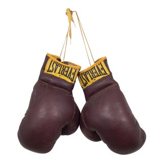 Vintage Leather Everlast Boxing Gloves C. 1960s For Sale