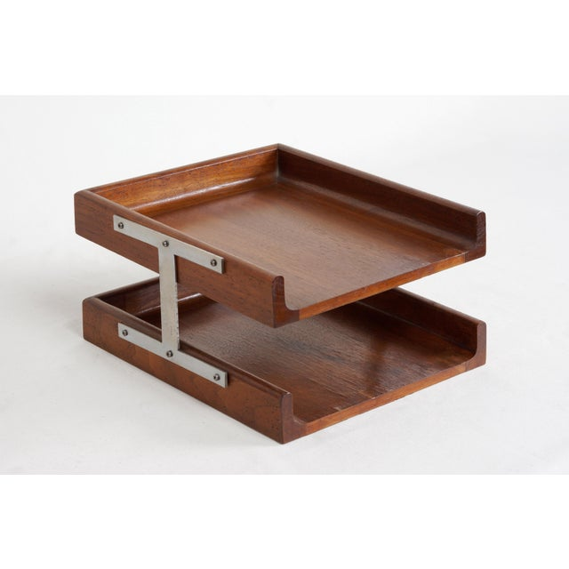 Metal 1960s Two-Tier Walnut Paper Tray For Sale - Image 7 of 7