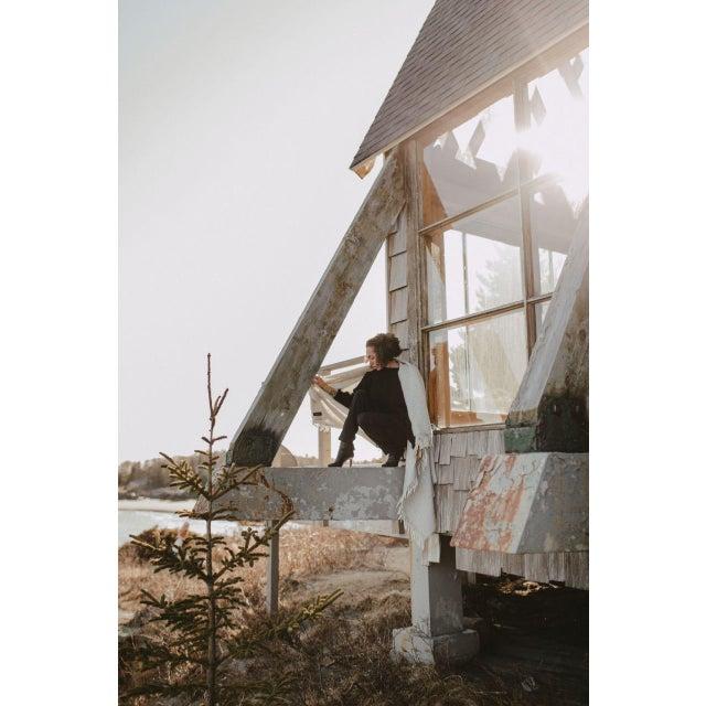 Light Gray Herringbone Throw in Fog For Sale - Image 8 of 13
