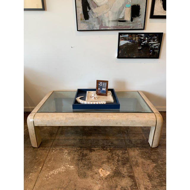 Metal Maitland-Smith RectangleTessellated Stone & Brass Glass Top Coffee Table For Sale - Image 7 of 10