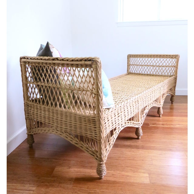 Farmhouse Vintage Wicker Rattan Daybed by Bar Harbor For Sale - Image 3 of 8