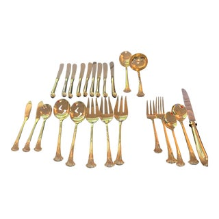 1970s Supreme Cutlery Gold Stainless Steel Place Settings & Multiple Serving Pieces - Set of 89, 14 Place Settings For Sale