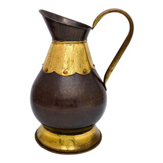 20th Century Belgian Brass and Copper Pitcher For Sale