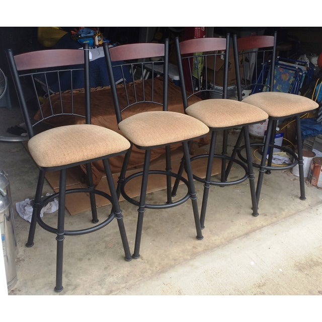 Swivel Metal Bar Stools With Cushion - Set of 4 - Image 3 of 7