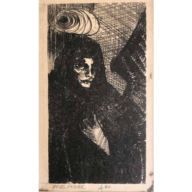 Abstract Vintage Expressionist Lithograph of an Angel in Black by James Angier For Sale - Image 3 of 5