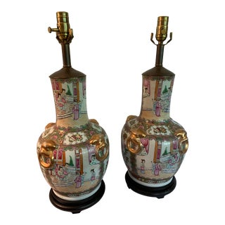 Late 20th Century Rose Medallion Hand Painted Lamps - A Pair For Sale
