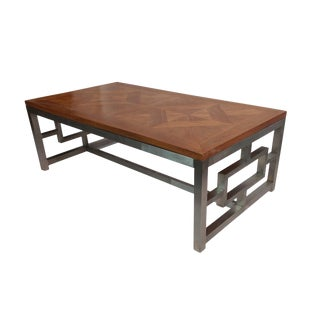Reclaimed Wood Steel Coffee Table For Sale