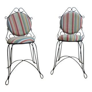 Vintage Metal Wire Outdoor Patio Chairs - A Pair For Sale