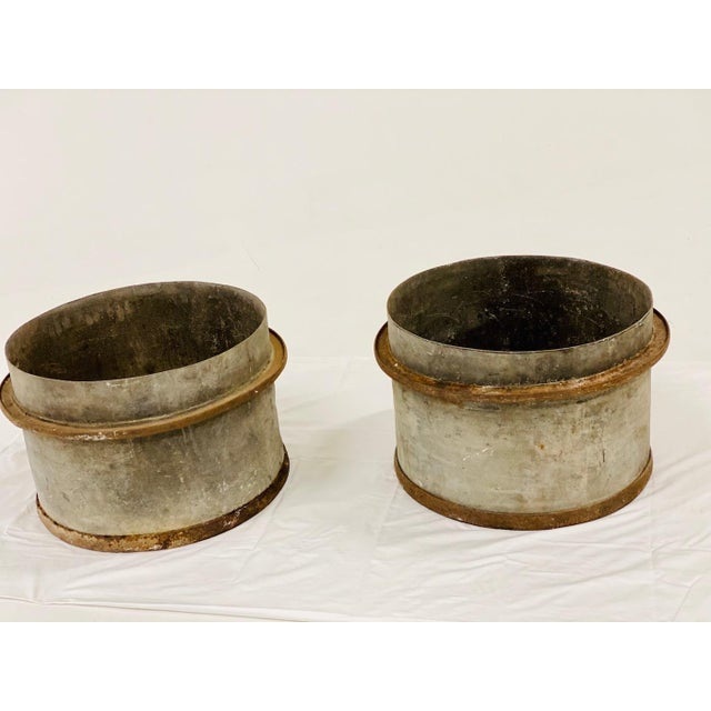 Gray Early 20th Century Industrial Zinc and Iron Planters - a Pair For Sale - Image 8 of 8