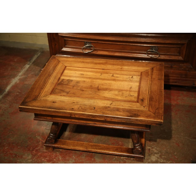 Oak 18th Century French Walnut Coffee Table with Drawers and Pull Out Leaves For Sale - Image 7 of 9