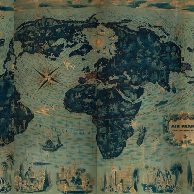 Four reproduction vintage panels of Air France world map. Can be ordered in custom proportional sizes. Priced unframed,...