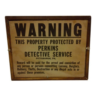 Vintage Warning Sign Circa 1930 For Sale