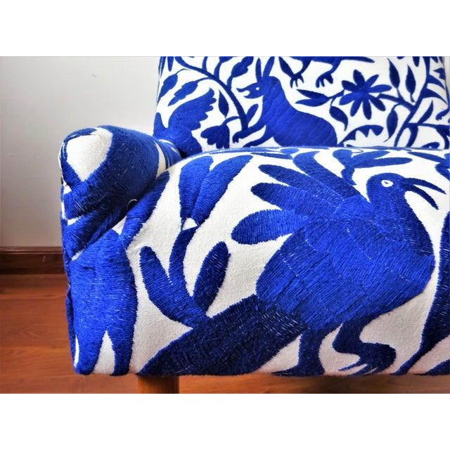Blue Mid-Century Bohemian Cobalt Blue Otomi Hand Embroidered Lounge Chair For Sale - Image 8 of 11