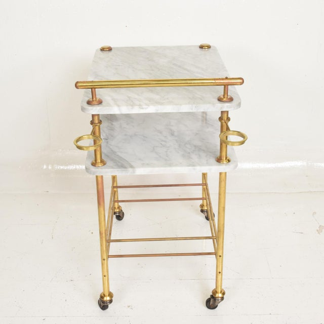 Mid Century Modern Bakery Service Table in Carrara Marble and Brass For Sale - Image 4 of 11