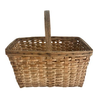 New England Handcrafted Splint-Wood Basket For Sale
