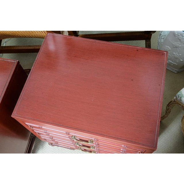 Metal Vintage Ficks Reed Faux Bamboo Chinese Red Nightstands-A Pair For Sale - Image 7 of 12