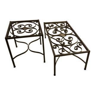 Ethan Allen Maison Iron Coffee Table & End Table - A Pair For Sale