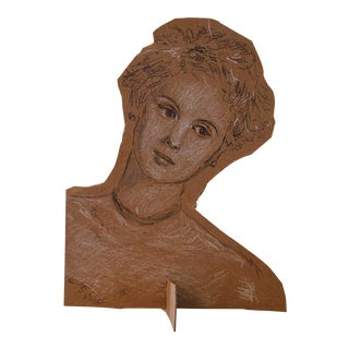 """Contemporary Sarah Myers """"Head of a Girl"""" Mixed Media Sculpture For Sale"""