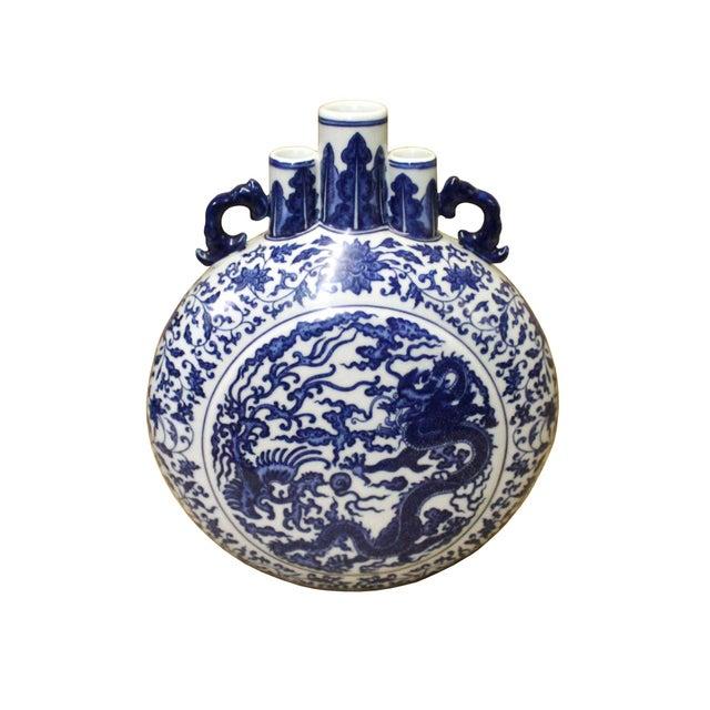 Ceramic Chinese Blue White Porcelain Dragon Phoenix Theme Flask Vase For Sale - Image 7 of 8