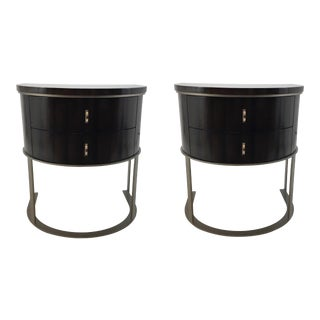 Caracole Modern Wood and Metal Nightstands Pair For Sale