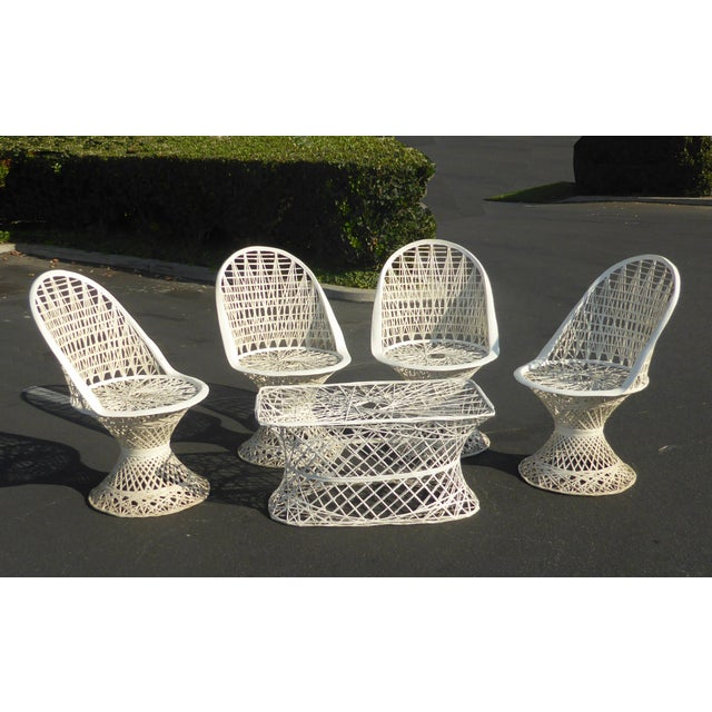 Four Spun Fiberglass White Chairs & Coffee Table by Russell Woodard Patio Set - Image 11 of 11