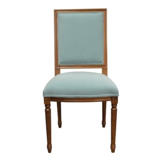 Custom Order Louis XVI Style Square Back Dining Chair Upholstered in Kravet's Crypton Washable Velvet For Sale