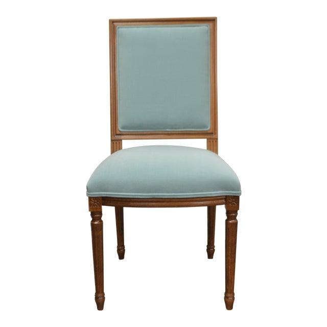 Custom Order Louis XVI Style Square Back Dining Chair Upholstered in Kravet's Crypton Washable Velvet For Sale