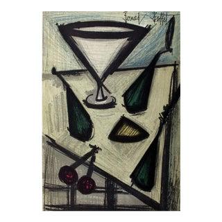 1966 Bernard Buffet 'Still Life With Fruit' Modernism France Lithograph For Sale
