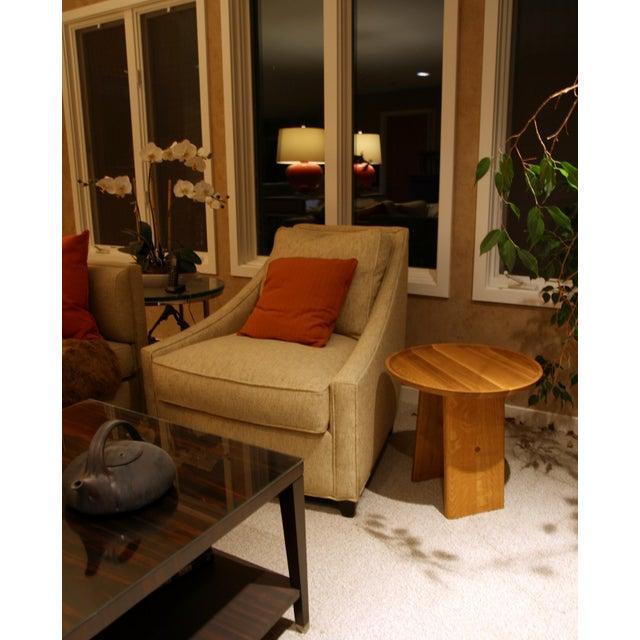 Oak Slant Wooden Minimalist Table For Sale - Image 7 of 8