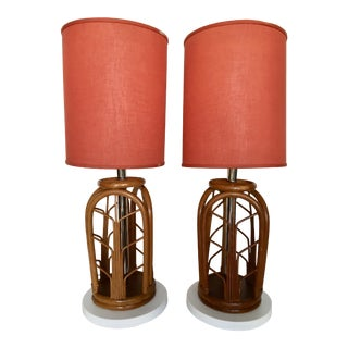 Vintage Bamboo Lamps With Shades - a Pair For Sale